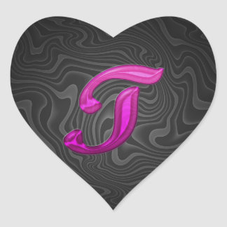 Pink Glittery Initial - T Heart Stickers