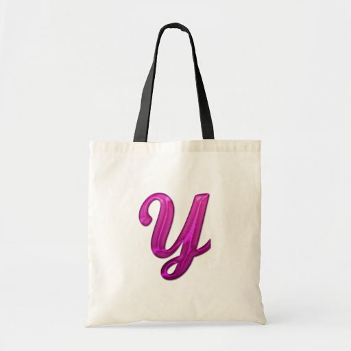 Pink Glittery Initial - Y Tote Bags