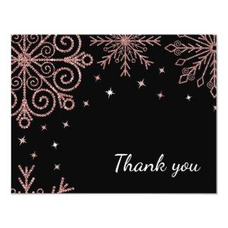 Pink Glittery Snowflake Winter Wedding Thank You 11 Cm X 14 Cm Invitation Card