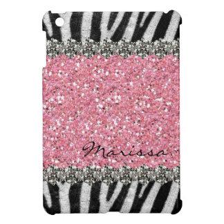 Pink Glittery Zebra Stripes Gems Look Cover For The iPad Mini