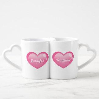 Pink Glossy Hearts With Custom Names Coffee Mug Set