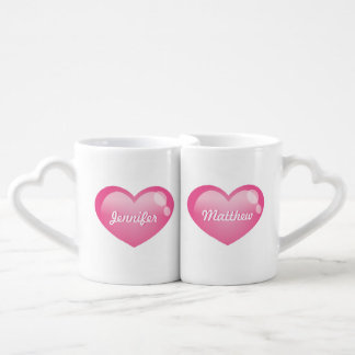 Pink Glossy Hearts With Custom Names Lovers Mug Sets