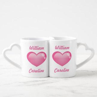 Pink Glossy Hearts With Names Lovers Mug Set