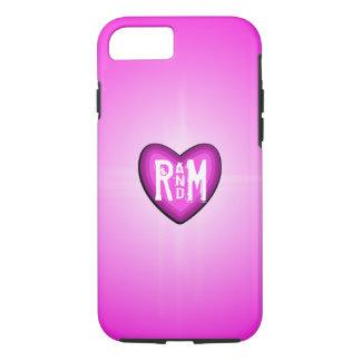 Pink Glowing Heart Monogram iPhone 7 Case