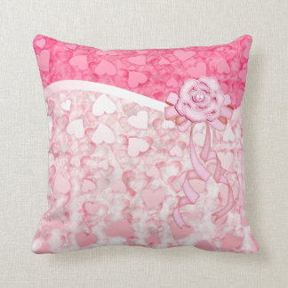 pink glowing Valentine's day hearts rain pillow