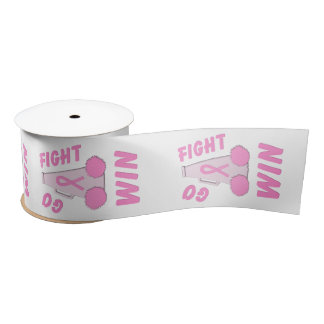 Pink Go Fight Win Megaphone Satin Ribbon