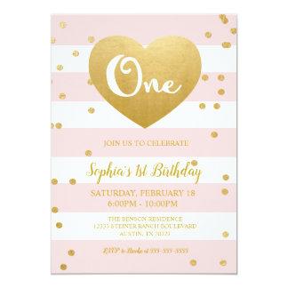 Pink & Gold 1st Birthday Invitation