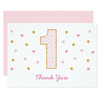 Pink & Gold 1st Birthday Thank You Card