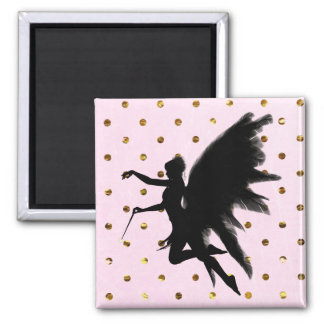 Pink Gold and Black Fairy Magnet
