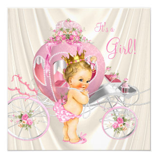 Pink Gold and Ivory Pearl Princess Baby Shower 13 Cm X 13 Cm Square Invitation Card