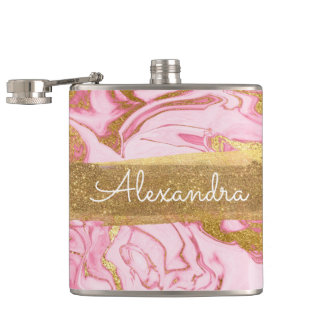 Pink, Gold and Marble with Gold Foil and Glitter Hip Flask