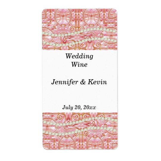 Pink, Gold, and Pearl Wedding Wine Label