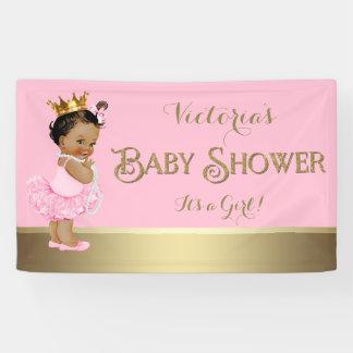 Pink Gold Ballerina Tutu Pearl Baby Shower Banner