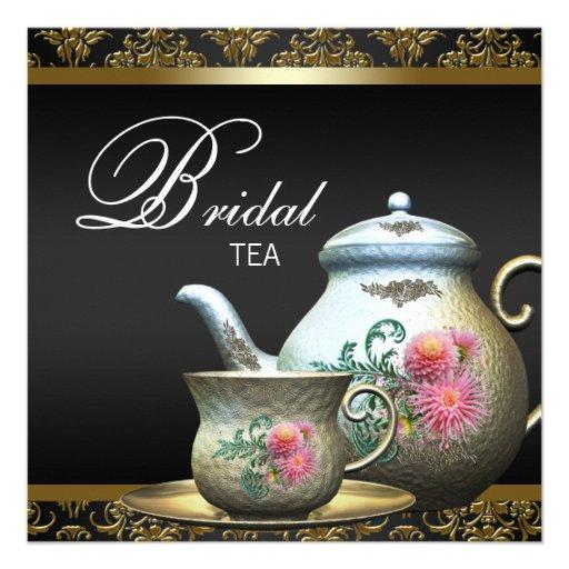 Pink Gold Black Damask Tea Cup Bridal Shower Personalized Invites