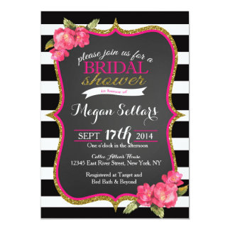 Pink Gold Black White Bridal Shower Invitation