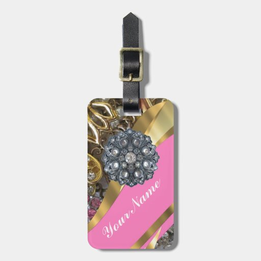 Pink & gold bling luggage tags