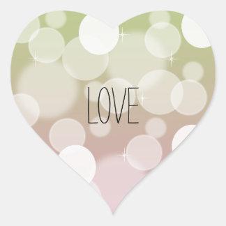 Pink Gold Bokeh Love Heart Sticker
