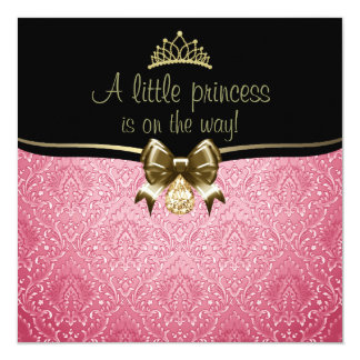 Pink & Gold Bow/Damask Baby Shower Invitation