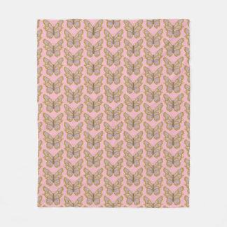 Pink Gold Butterfly Fleece Blanket