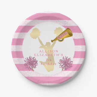 Pink | Gold Cheer Cheerleader Girl Birthday Party Paper Plate