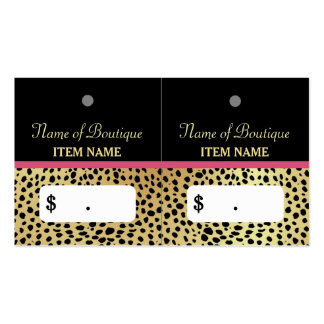 Pink Gold Cheetah Print Beauty Boutique Hang Tags Pack Of Standard Business Cards