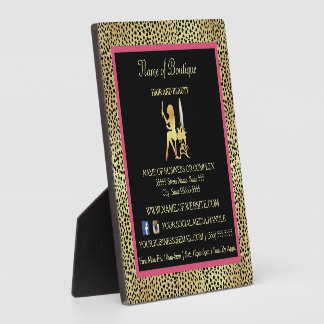 Pink Gold Cheetah Print Boutique Information Sign Plaque