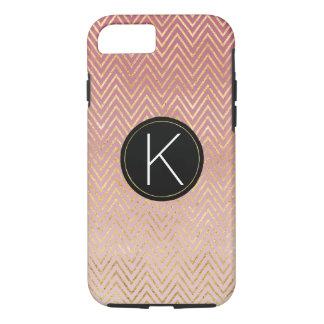 Pink Gold Chevron Ombre Monogram iPhone 8/7 Case