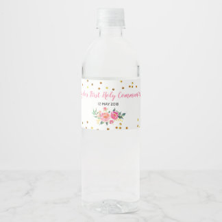 Pink Gold Chic Floral Water Bottle Label
