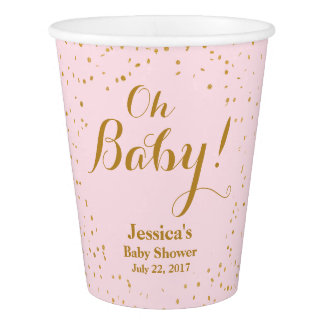 Pink & Gold Confetti Baby Shower Paper Cups