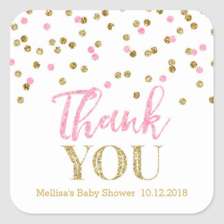 Pink Gold Confetti Baby Shower Thank You Sticker