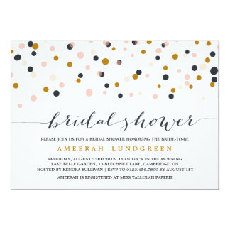 Pink & Gold Confetti Dots Bridal Shower Invitation