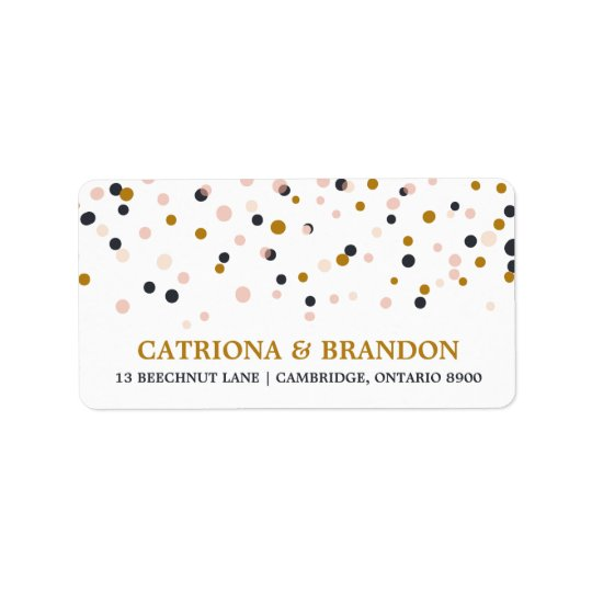 Pink & Gold Confetti Dots Return Address Label