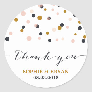 Pink & Gold Confetti Dots Thank You Sticker