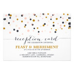 Pink & Gold Confetti Dots Wedding Reception Card