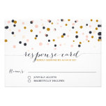 Pink & Gold Confetti Dots Wedding RSVP Card