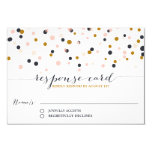Pink & Gold Confetti Dots Wedding RSVP Card Custom Invitations