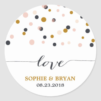 Pink & Gold Confetti Dots Wedding Sticker