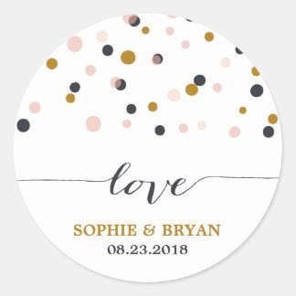 Pink & Gold Confetti Dots Wedding Sticker