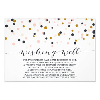 Pink & Gold Confetti Dots Wishing Well Card
