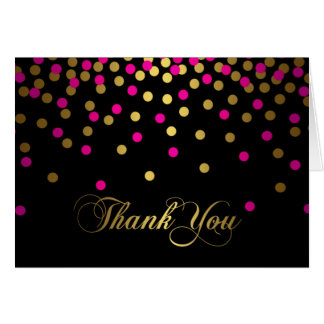 Pink & Gold Confetti Thank You Card