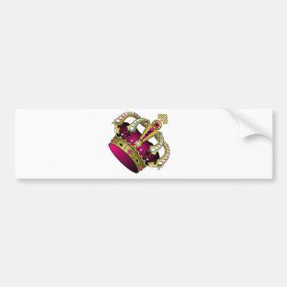Pink & Gold Crown Bumper Sticker