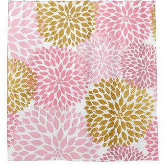 Pink Gold Dahlia Floral bathroom decor, bath decor Shower Curtain