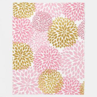 Pink Gold Dahlia floral fleece blanket