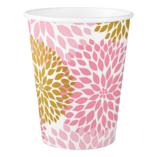 Pink Gold Dahlia paper cup