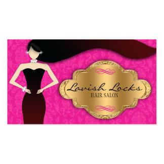 Pink Gold Damask Hair Stylist Salon Business Card
