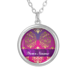 Pink & gold damask silver plated necklace