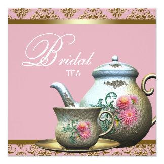 Pink Gold Damask Tea Cup Bridal Shower Custom Invitation