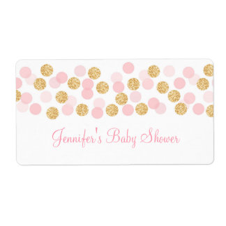 Pink & Gold Dot Water Bottle Stickers
