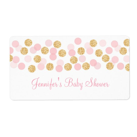 Pink & Gold Dot Water Bottle Stickers Shipping Label
