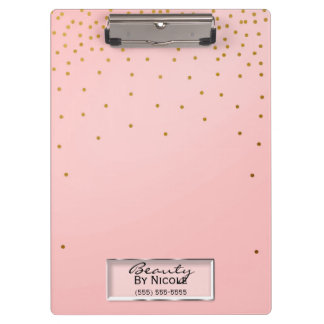 Pink & Gold Dots Elegant Chic Glam Personalized Clipboard